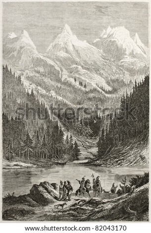 Old view of Lac des Arcs in the Rocky Mountains. Created by Pelcoq after Bourgeau, published on Le Tour du Monde, Paris, 1860 - stock photo