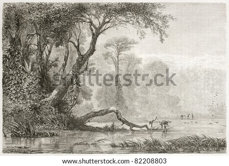 Old view of Rioni river, Georgia. Created by Moynet, published on Le Tour du Monde, Paris, 1860 - stock photo
