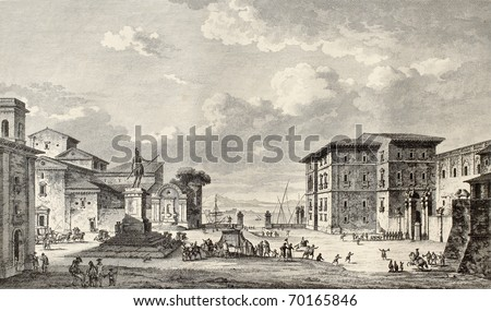 Old view of Royal square in Messina, Sicily. By Desprez and De Ghendt, published on Voyage Pittoresque de Naples et de Sicilie,  J. C. R. de Saint Non, Impr. de Clousier, Paris, 1786 - stock photo