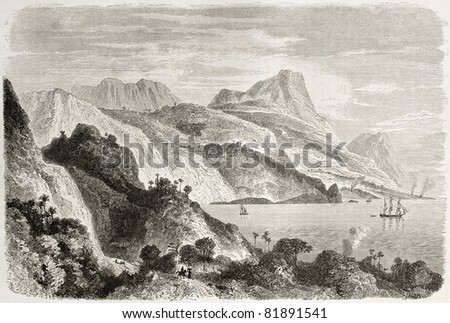 Old view of Saint Ann bay, Jamaica. Created by Berard, published on Le Tour du Monde, Paris, 1860 - stock photo