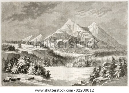 Old view of San Francisco Peaks, Arizona. Created by Lancelot after report made under the direction of the U.S. secretary of the war. Published on Le Tour du Monde, Paris, 1860 - stock photo