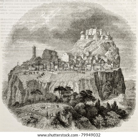 Old view of San Leo, Italy. Created by Freeman, published on Magasin Pittoresque, Paris, 1850 - stock photo