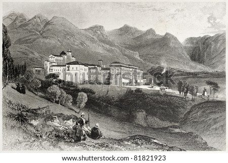 Old view of San Martino convent, near Palermo, Italy. Created by Leitch and Stephenson, published on Il Mediterraneo Illustrato, Spirito Battelli ed., Florence, Italy, 1841 - stock photo