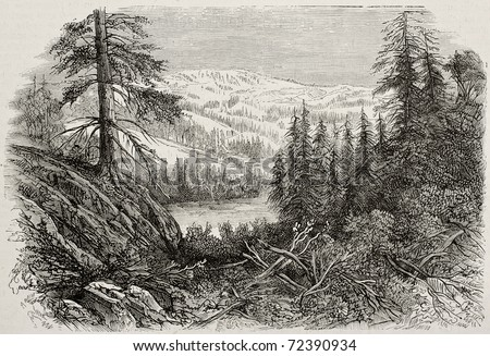 Old view of Sierra Nevada mountains, USA. Created by Provost, published on L'Illustration, Journal Universel, Paris, 1868 - stock photo