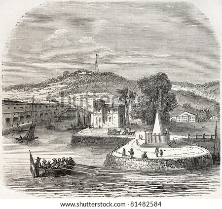 Old view of Singapore landing stage. Created by Freeman, published on L'Illustration Journal Universel, Paris, 1857 - stock photo