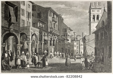 Old view of Strada Reale in Corfu, Greek island. Created by Prout and Finden, published on Il Mediterraneo Illustrato, Spirito Battelli ed., Florence, Italy, 1841 - stock photo