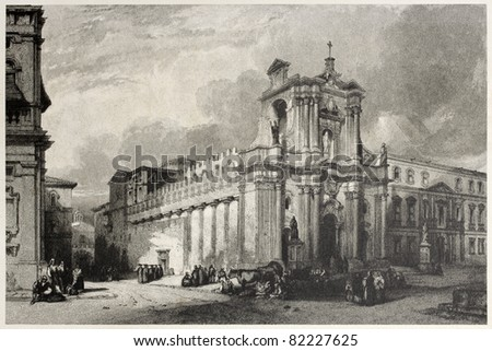 Old view of Syracuse cathedral, Sicily, Italy. Created by Leitch and Tingle, published on Il Mediterraneo Illustrato, Spirito Battelli ed., Florence, Italy, 1841