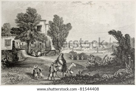 Old view of Tunis from the Sanneah Eftoor. Created by Bentley and ands, published on Il Mediterraneo Illustrato, Spirito Battelli ed., Florence, Italy, 1841 - stock photo