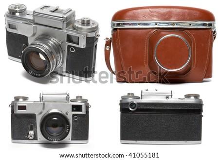 Old viewfinder photo camera. Isolated on white - stock photo