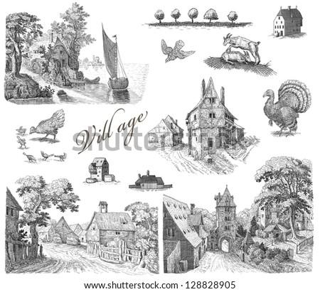 Old vilage set illustration - stock photo