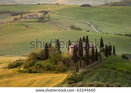 Old Villa view in Tuscany, Italy - stock photo