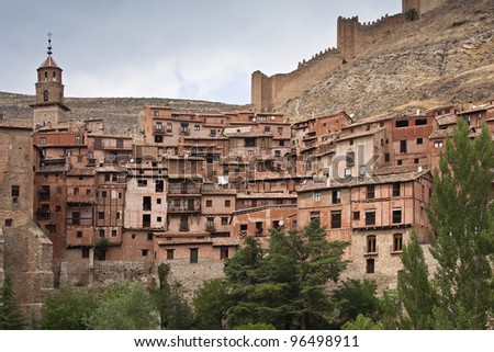 Old village A view of Albarracin - stock photo