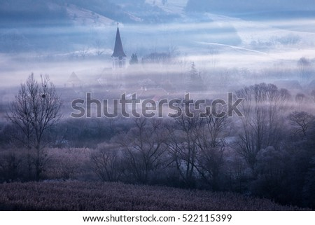 Old village in Transylvania called Gherdeal, in the middle of Romania at sunrise