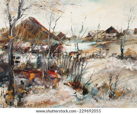 Old village in winter, oil painting, artistic background                 - stock photo