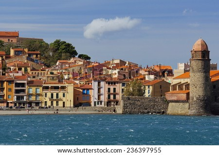 Old village of Collioure in French Mediterranean coast, Pyrenees Orientales, Languedoc Roussillon - stock photo