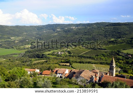 Old village of Motovun in Istria, Croatia and landscape of vineyards - stock photo