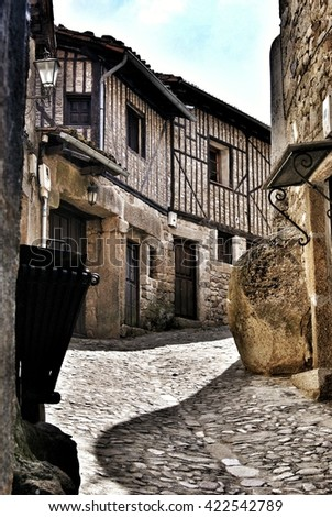 Old village street in La Alberca Spain - stock photo