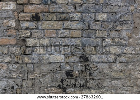 Old vintage abandoned house wall - stock photo