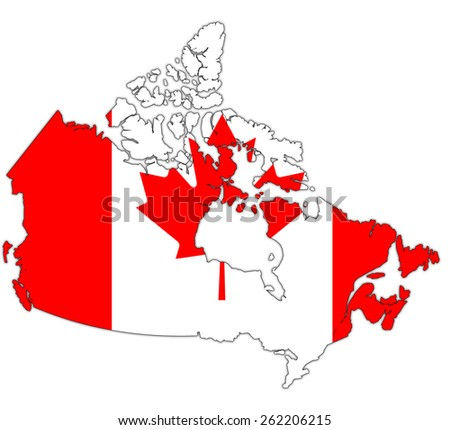 old vintage administration map of canada with flag - stock photo
