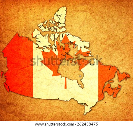 old vintage administration map of canada with flag