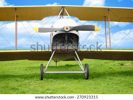Old vintage airplane on green grass - stock photo