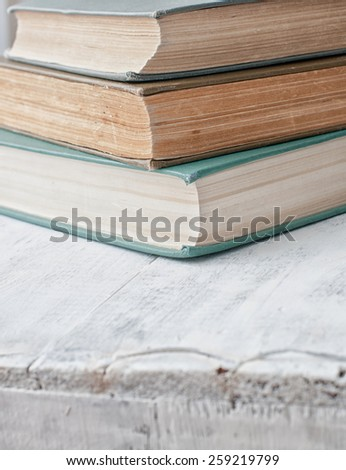 old vintage antique books pile texture background - stock photo