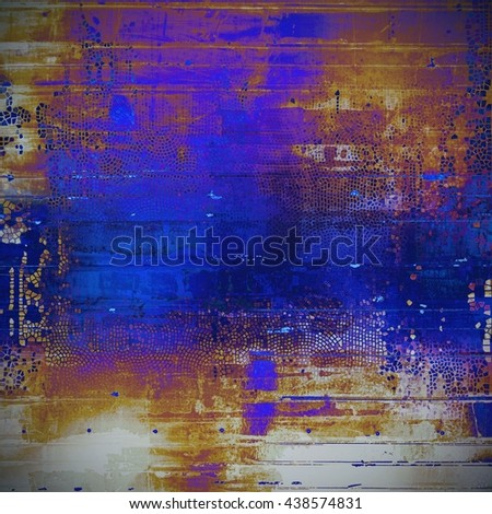 Old vintage backdrop. Original background or aged texture with different color patterns: yellow (beige); brown; blue; red (orange); purple (violet); gray - stock photo