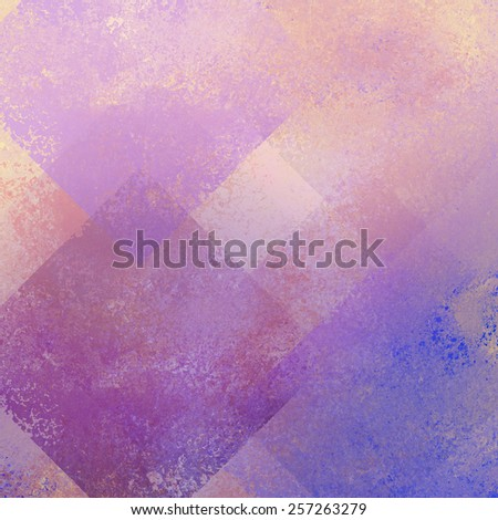 old vintage background illustration, distressed old texture and purple, pink and beige layered squares or diamond shapes in geometric pattern design, old background paper - stock photo