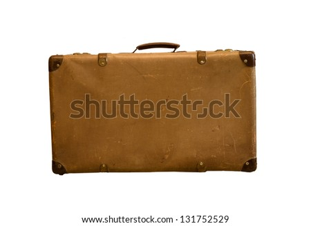 Old vintage bag suitcases on isolate background - stock photo