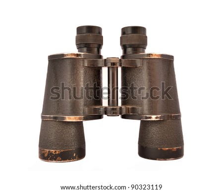 old vintage binoculars isolated on white - stock photo
