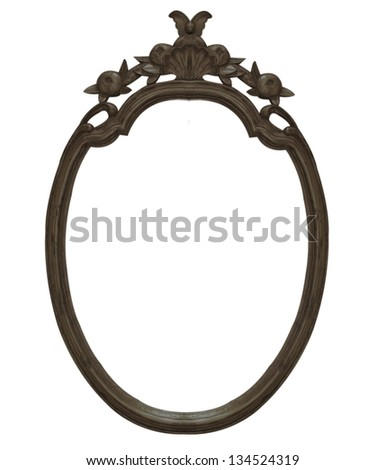 Old vintage black wooden frame isolated white background. - stock photo
