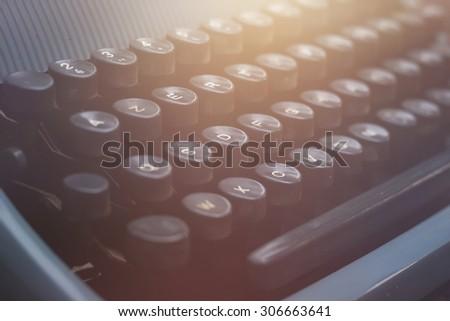 old vintage blue typewriter detail - stock photo