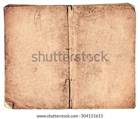 Old vintage book cover isolated on white background
