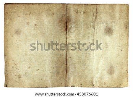 Old vintage book isolated on white background. Ancient paper texture - stock photo