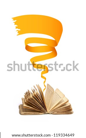 old vintage book on white background - stock photo