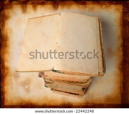 old vintage books - stock photo