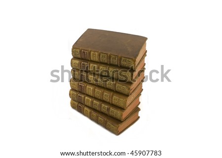 old vintage books isolated on white - stock photo