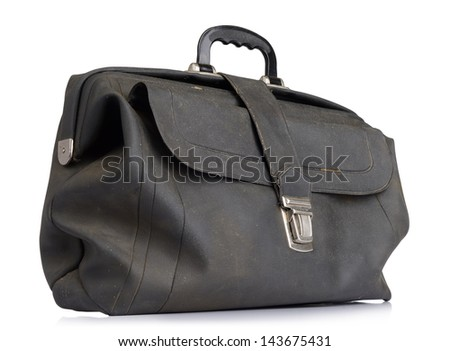 Old vintage briefcase on white background. File contains a path to isolation. - stock photo