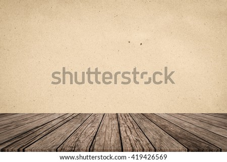 old vintage brown wood panel tabletop with plain paper texture tan sepia color background:grunge aged wooden floor with surface craft backdrop.show advertising promote products on display image. - stock photo
