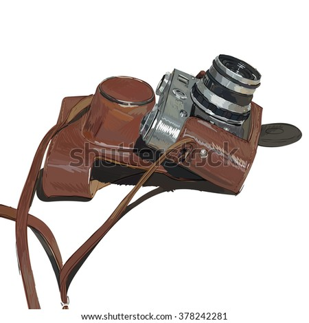 old vintage camera with cover film  isolated