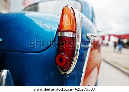 Old vintage car back headlight. - stock photo