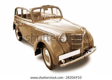 old vintage car isolated on white background - stock photo