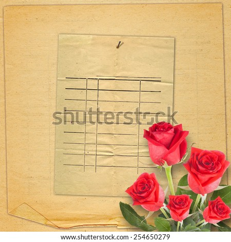 Old vintage card with a beautiful red rose on paper backgroundOld vintage card with a beautiful red rose on paper background - stock photo