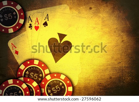 old vintage cards and a gambling chip - stock photo