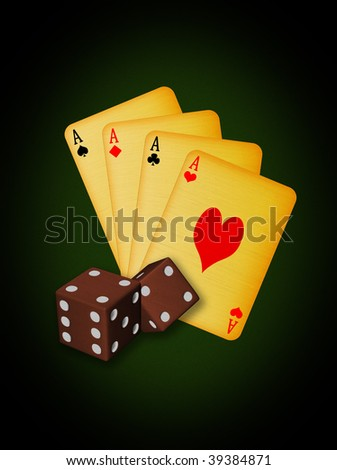 old vintage cards and dices - stock photo