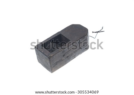 old vintage carpenter tool planer, isolated on white background - stock photo