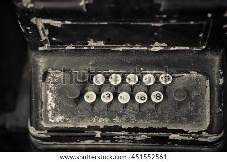 old vintage cash register - stock photo
