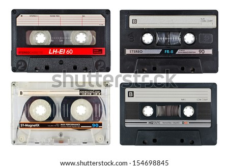 old vintage cassette tapes - stock photo