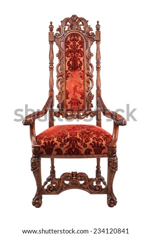 Old vintage chair made of wood isolated on white - stock photo