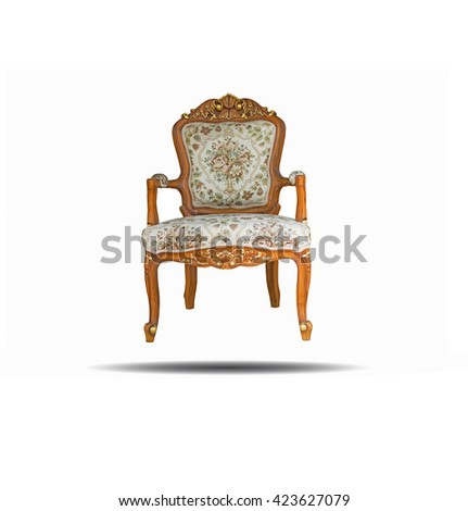Old vintage chair on white background